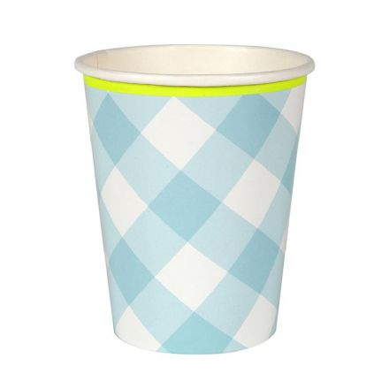 Blue Gingham Paper Cups